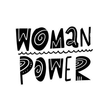 Woman Power. Black ink. Motivation lettering phrase. Hand drawn vector illustration. Scandinavian typography. Isolated on white background.