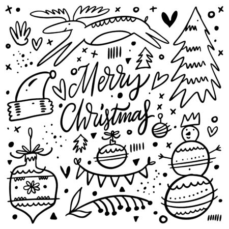 Merry Christmas doodle elements. Black ink. Hand drawn vector illustration. Isolated on white background. Vector Illustration