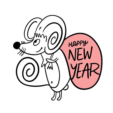 Happy New Year holiday phrase and mouse animal. Hand drawn vector illustration. Black ink. 向量圖像