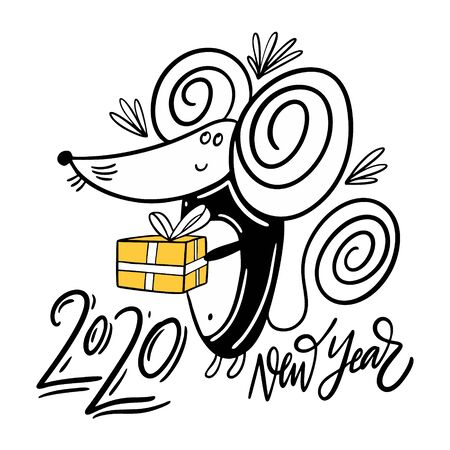 2020 New Year and symbol character Mouse with gift box. Hand drawn vector illustration. Black ink.