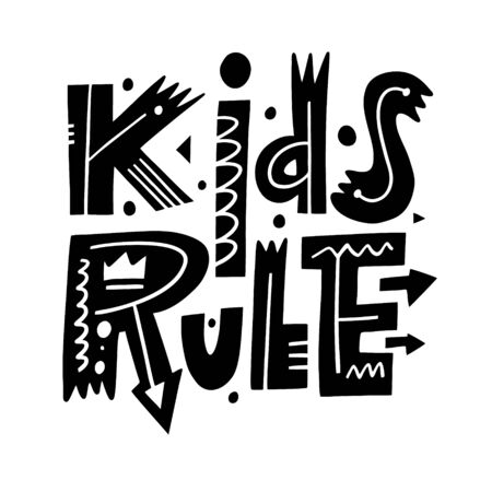 Kids Rule phrase. Hand drawn vector illustration. Black ink. Scandinavian typography lettering.