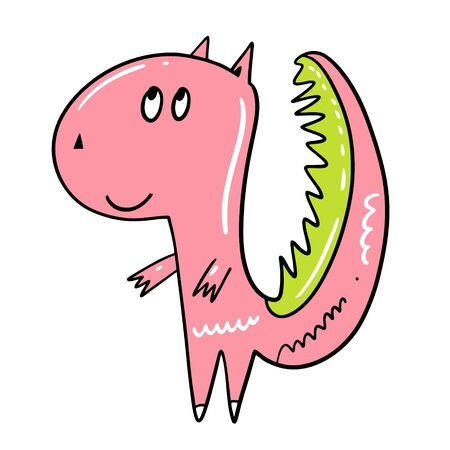 Cute Pink Dinosaur. Character in cartoon style. Hand drawn colorful vector illustration.