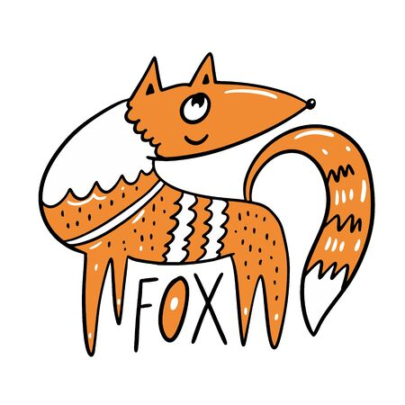 Cute Little Fox . Character in cartoon style. Hand drawn colorful vector illustration. Isolated on white background. Stock Vector - 134829923