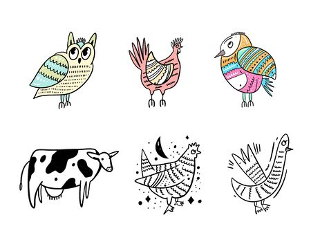 Owl, Chicken, Bird, Cow and Goose animal set. Hand drawn vector illustration. Ilustracja
