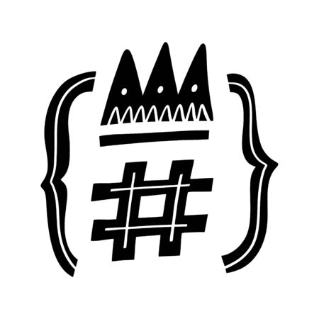 Black hashtag social symbol. Social media and web communicate sign. Flat icon vector illustration.