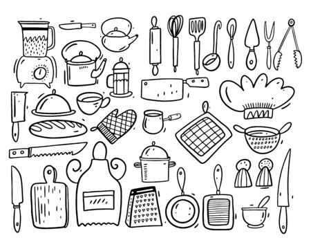 Big collection set kitchen objects. Vector illustration in cartoon style. Balck ink.