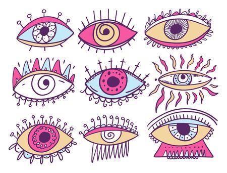 Eyes Occultism symbol. Flat cartoon vector illustration. Ilustracja