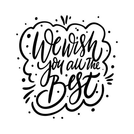 Le deseamos las mejores letras. Tarjeta navideña. Ilustración de vector de dibujos animados plana.