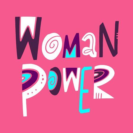 Woman Power Phrase. Motivation lettering. Hand drawn vector illustration.