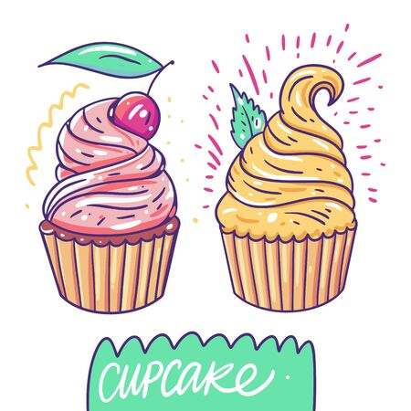 Sweet cupcakes set. Hand drawn vector illustration. Flat cartoon style. Isolated on white background.