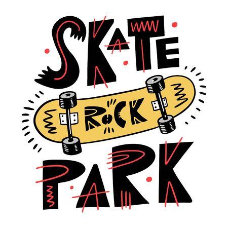 Yellow skateboard vector illustration. Skate Rock Park Phrase. Isolated on white background.