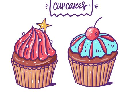 Two sweet cupcakes. Pink creamy, blue cremy, chocolate and cherry. Vector illustration. Cartoon style. Isolated on white background. Stock Vector - 137229138