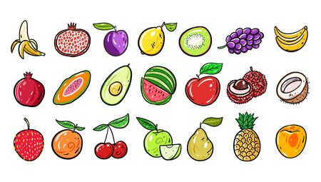 Cute Fruits big set collection. Vector illustration. Cartoon style. Isolated on white background.