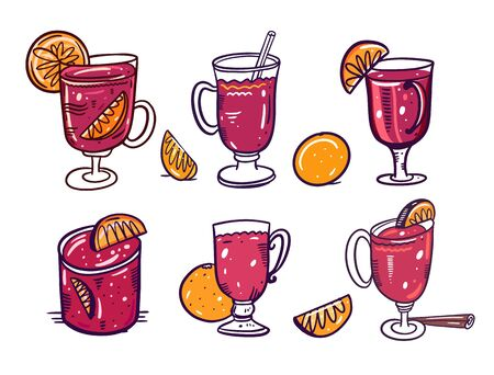 Mulled Wine in a mug. Cartoon style. Vector illustration. Banque d'images - 137756176