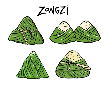 Zongzi. Asia food. Collection set. Cartoon style. Vector illustration. Isolated on white background.