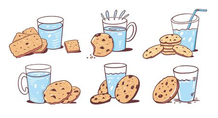Vector set of glass of milk and baked oatmeal cookies with chocolate. Cartoon style. Vector illustration.