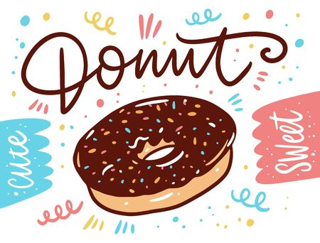 Chocolate Donut banner in Cartoon style. Vector illustration. Isolated on white background.