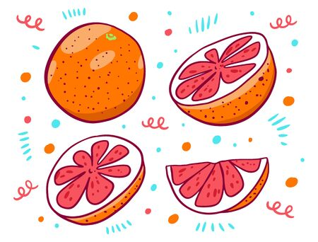 Cute grapefruit set in cartoon style. Vector illustration. Isolated on white background.