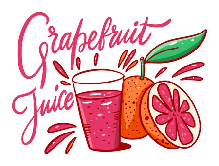Grapefruit Juice and slice citrus in cartoon style. Vector illustration poster. Isolated on white background.
