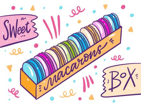 Sweet Macarons in box. Vector illustration in cartoon style. Isolated on white background.