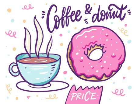 Cute coffee in cup and pink donut. Cartoon style. Vector illustration. Isolated on white background.