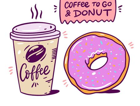 Coffee to go and pink donut. Vector illustration. Isolated on white background. Ilustração