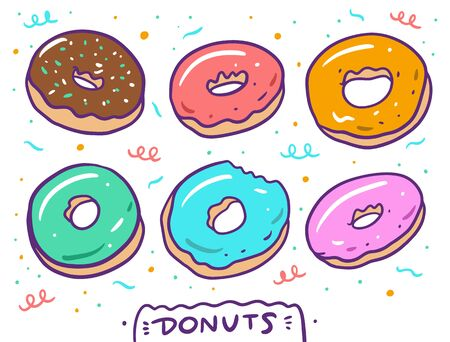 Cute donuts set. Vector illustration. Isolated on white background.