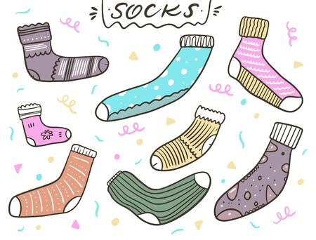 Cute socks set. Vector illustration in cartoon style. Isolated on white background. Design for banner, poster and web.