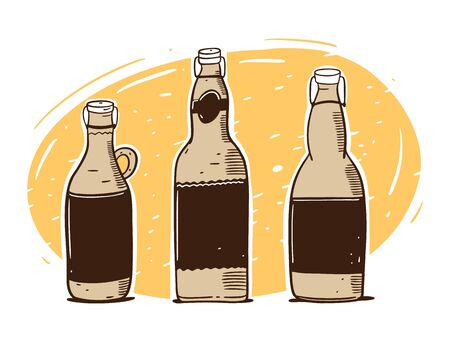 Craft beer bottle set. Hand draw vector illustration. Cartoon style. Ilustracja