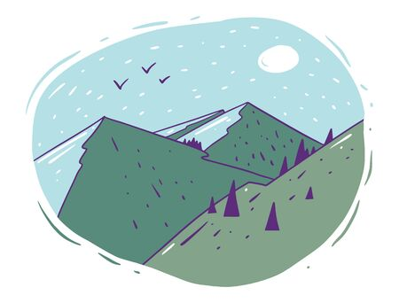 Green mountains with forest and sun. Hand draw vector illustration. Cartoon style. Isolated on white background. Ilustracje wektorowe
