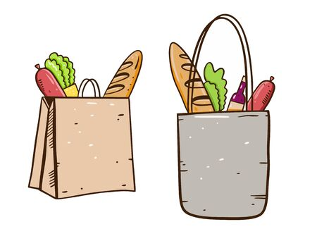 Shop Bags with food. Hand draw vector illustration. Cartoon style. Isolated on white background.