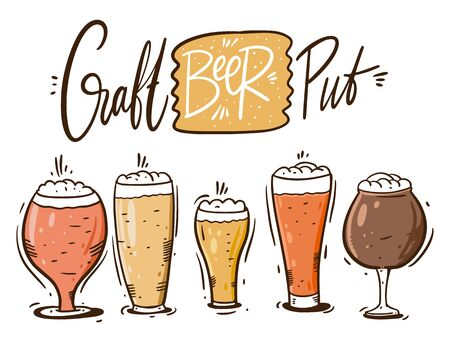 Beer glasses and mugs. Craft beer. Hand draw vector illustration. Cartoon style.