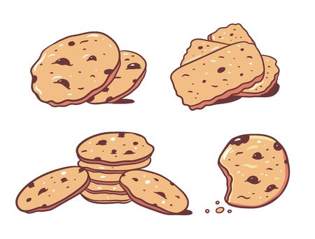 Cookies with chocolate set. Hand draw vector illustration. Cartoon style. Isolated on black background.