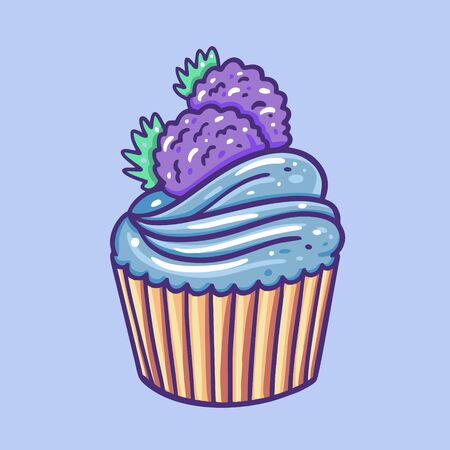 Cupcake with blackberry. Hand draw vector illustration. Cartoon style.