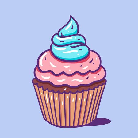 Cupcake with pink and blue cream. Hand draw vector illustration. Cartoon style. Çizim