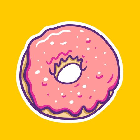 Pink Donut. Hand draw vector illustration. Isolated on yellow background.  イラスト・ベクター素材