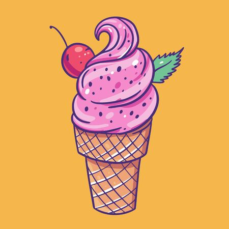Pink ice cream with cherry and mint. Vector illustration. Isolated on yellow background. Illustration