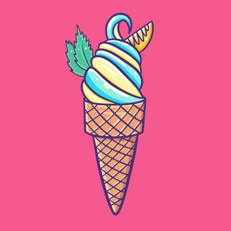 Ice cream with blue and yellow colors. Sweet cold dessert. Vector illustration. Çizim