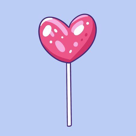 Lollypop heart shaped. Hand drawn vector illustration. Cartoon style.