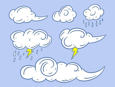 White thunderclouds with blue outline and lightning. Hand drawn vector illustration. Cartoon style. Isolated on blue background.