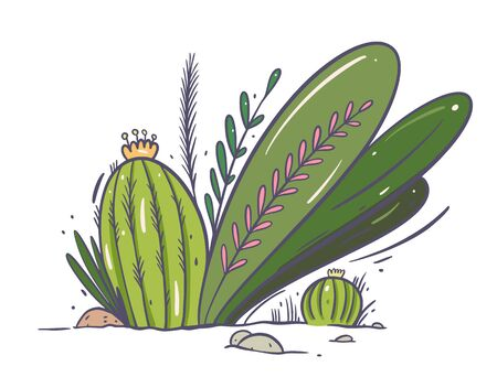 Cactus and plants grow on the ground. Hand drwan vector illustration. Isolated on white background. Design for video, web, game and poster.