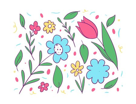 Flowers and green leaves set. Vector illustration in cartoon style. Isolated on white background. Design for potser, banner, web.