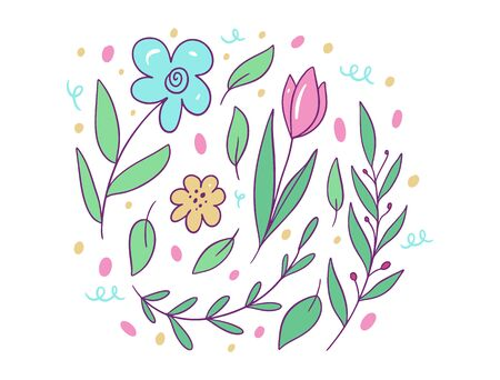 Flowers and leaves composition. Vector illustration in cartoon style. Isolated on white background. Design for potser, banner, web. Ilustração