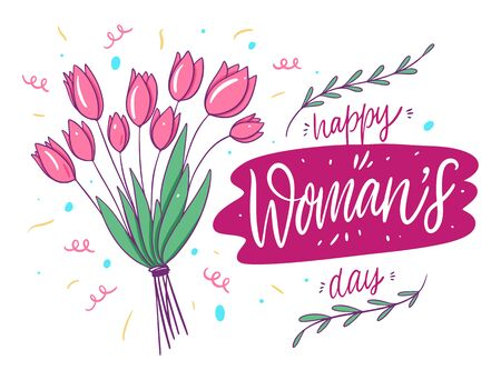 Happy Womans Day lettering. Bouquet of tulips . Ilustrace