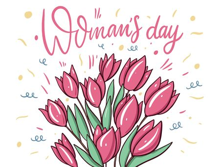 Womens Day hand drawn lettering and bouquet of pink tulips. Ilustrace