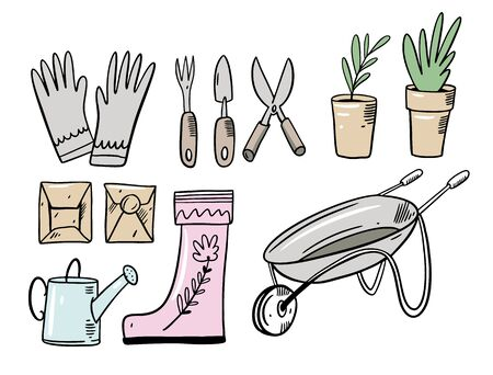Set doodle garden elements. Vector illustration in cartoon style. Isolated on white background.