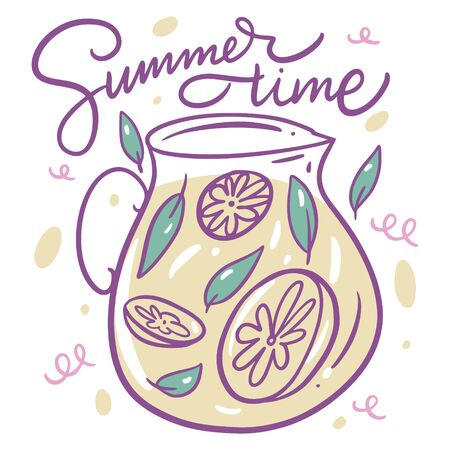 Summer time lettering and Lemonade in glass jar. Vector illustration. Cartoon style. Isolated on white background.