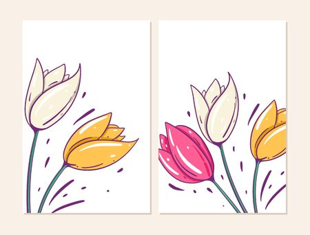 Two cover with tulips flowers. Vector illustration in cartoon style. Isolated on white background. Design for banner, poster and web.