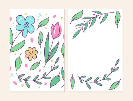 Two banner with flowers pattern. Vector illustration in cartoon style. Isolated on white background. Design for banner, poster and web.