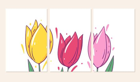 Three covers with tulips flowers. Vector illustration in cartoon style. Isolated on white background. Design for banner, poster and web.